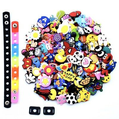 US Stock 100PCS Random Shoe Charms Accessories For Fit Croc Jibbitz Bracelets