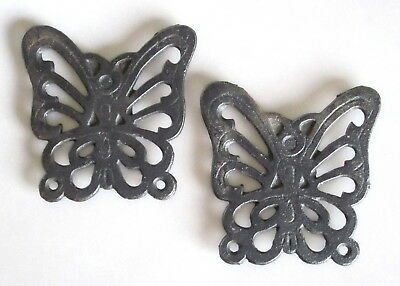 "Butterfly Pair of Cast Iron Trivets 3.25"" Miniature Moth Black"