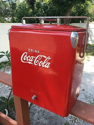 Rare Vintage ~ Red Coca Cola Stainless Steel Picnic Cooler Temprite  Coke Exc!!