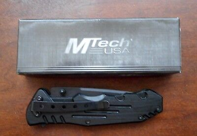 "7.75"" M-Tech Usa Tanto Blade Black Stainless Steel Tactical Folding Pocket Knife"