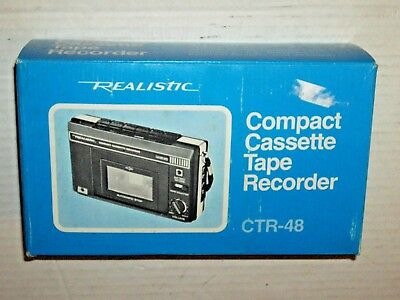 NOS Realistic CTR-48 Hand Held Cassette Recorder Player  Cat No 14-802