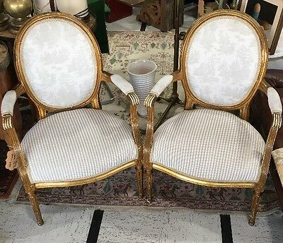 Pair Anthropologie French Louis XVI Style Distress Painted Arm Chair Will Ship!