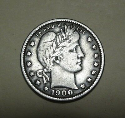 1900 Barber Quarter  ~  Nice Grade With Full Liberty & Motto