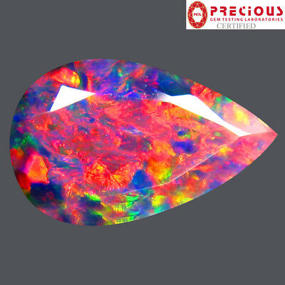 2.35 ct PGTL Certified Amazing Pear Cut (15 x 9 mm) Ethiopian Black Opal