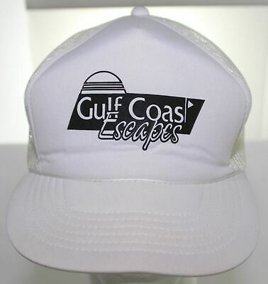 11e490732b8 Vintage Gulf Coast Escapes Snapback Cap Headliner Headwear White Trucker Hat  EUC