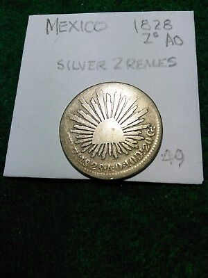 MEXICO 1828 Zs SILVER 2 REALES. CAP & RAYS