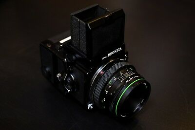 Bronica ETRS Camera, 75mm f/2.8 Lens, 120 Film Back, Prism & Waist-Level Finders