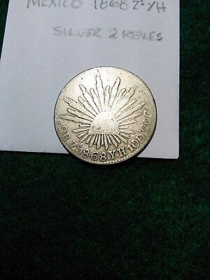 MEXICO 1868 Zs YH SILVER 2 REALES. CAP & RAYS