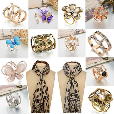 Women Fashion Flower Scarf Ring Buckle Clip Holder Brooch Pin Buckle Jewelry HOT