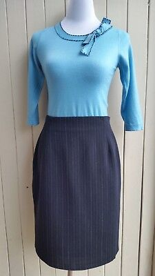 Ralph Lauren Blue Pinstripe Wool Skirt Size 10 12