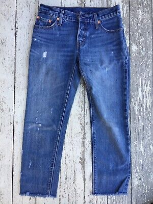 Levi Strauss & Co 501 CT Youth Distressed Button Fly Jeans 24X32