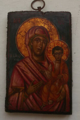 Antique Greek icon of Virgin Mary Odeghetria ,early 19th century