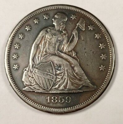 1859-O Seated Dollar VF++ Details New Orleans Antebellum River Trade Silver $1