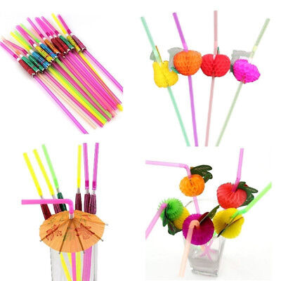 New 20/40X Paper Parasol Umbrella Fruit Tea Cocktail Drink Straws Party Decor FG