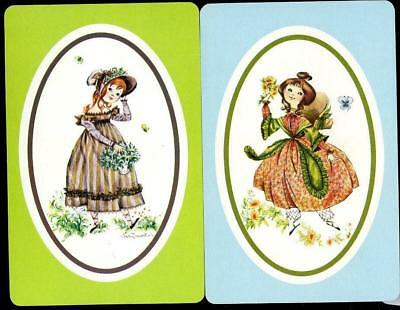 Holly Hobbie Style Swap/playing Cards X2 Girls In The  Garden Mint Condition