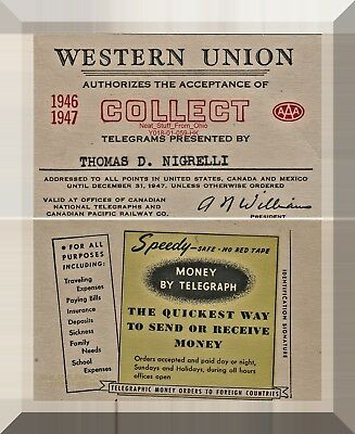 Western Union Telegraph Co.  Collect Telegram Authorization Card, 1946-1947