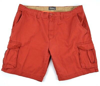 St. John's Bay Mens Brick Red Cargo Shorts 100% Cotton Size 42
