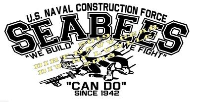 """United States Navy Seabees Die-cut Decal 23"""" x 11.5"""" Seabees 75 years Navy"""
