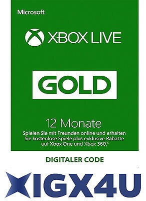 Xbox One XBOX 360 LIVE 12 Monate GOLD Mitgliedschaft Karte Key/ 12 Month Card AT