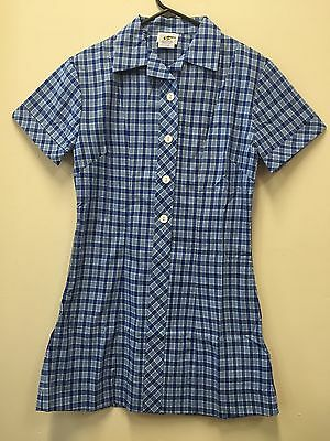 New School Uniforms Girls Dress Checked Front Buttons Cotton Polyester Size 8-20