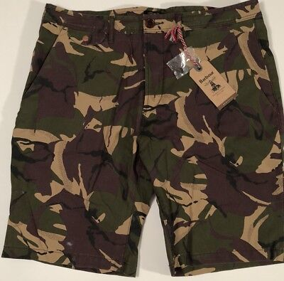 NWT BARBOUR Men's COWEN OLIVE CAMOUFLAGE COTTON CASUAL SHORTS Size 36