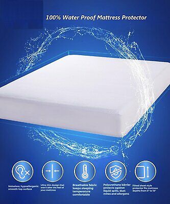Mattress Cover/Protector Bed Bug Waterproof Dust Mite Topper Zipper Encasement P