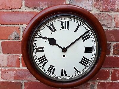 Antique Mahogany Cased Fusee Tameside Movement Station/office Wall Clock