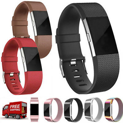For Fitbit Charge 2 Strap Replacement Milanese Loop Band Steel/Silicone Band BF
