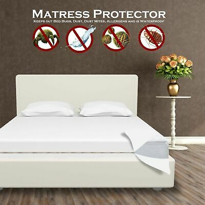 Waterproof Mattress Encasement Zippered Bed Bug Hypoallergenic Protector Cover P