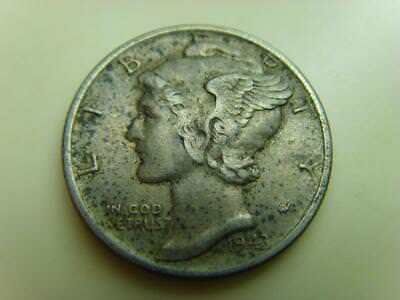 1943 Usa One Dime 10 Cents Mercury United States Of America Coin Ten Cents