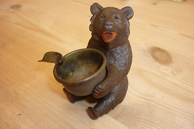Antique Black Forest Carved Bear Ashtray