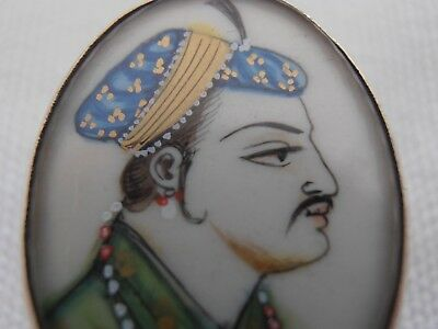Indian Silver Pill Box - Mughal Portrait - Exquisitely Hand Painted