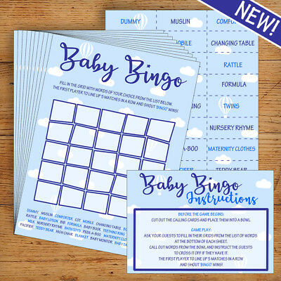 Baby Shower Bingo - Blue/Boy- 20 Players - Perfect Party Game!