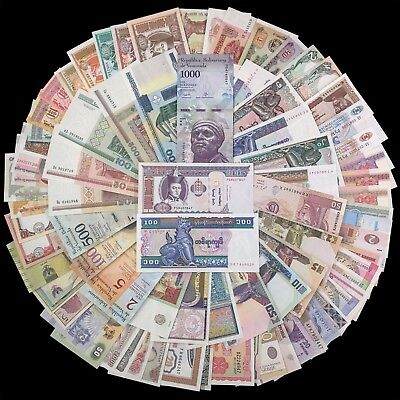 Lot 100 Different Notes From 30 Countries, Venezuela, Indonesia, Cambodia, UNC