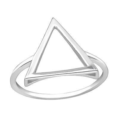 Genuine 925 Sterling Silver Large Triangle Stacking Ring Women Girls size 7 8 9
