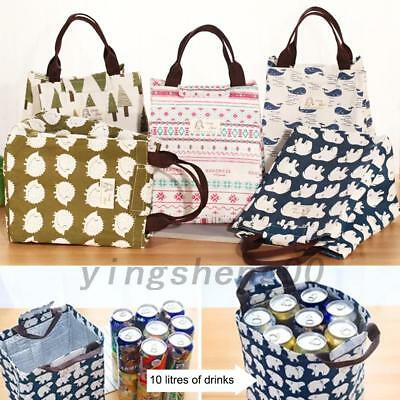 Insulated Lunch Bento Bag Reusable Canvas Storage Box Picnic Tote Large Portbale