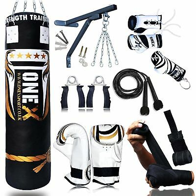 punch bag 5ft Filled Heavy punch bag and gloves set Chain Kick Boxing bob