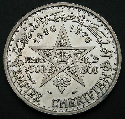 MOROCCO 500 Francs AH 1376 / AD 1956 (a) - Silver - Mohammed V. - XF/aUNC - 187