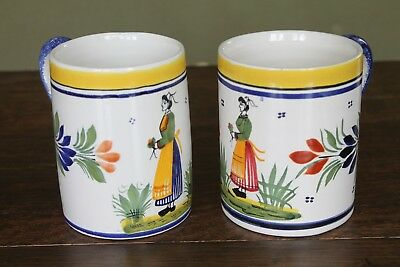 Henriot Quimper 2 x Tankards / Mugs 395 Decorated with Breton Ladies Glaze Chips