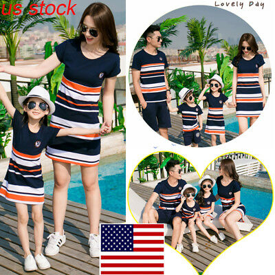 US Family Matching Clothes Dress Women Girls Mother and Daughter Striped