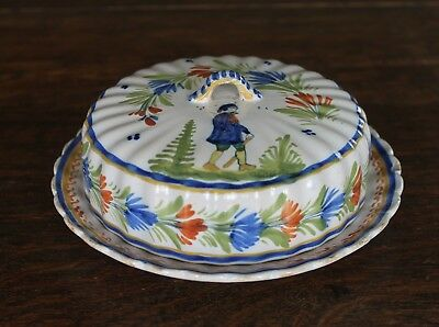 Henriot Quimper Covered Round Dish - Small Chips around Base