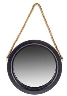 Navy Blue Round Framed Mirror With Jute Hanger Wall Shabby Chic Decor New