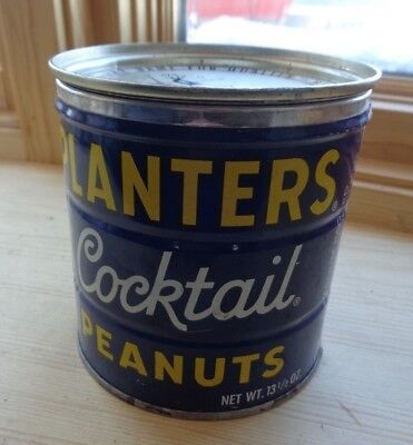 Vintage Planters Cocktail Peanuts Key Wind Peanuts Tin Can with Lid
