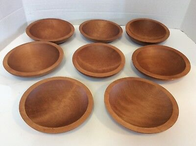 Barbo Maid Bowls Wood Carved solid Wood  Set of 8 Serving Bowls Vintage