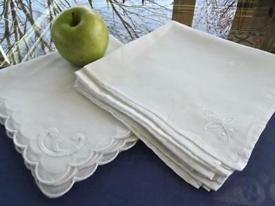 """Lot 10 Vintage White Easy Care Sheer 16"""" Fancy Napkins in Two Different Patterns"""