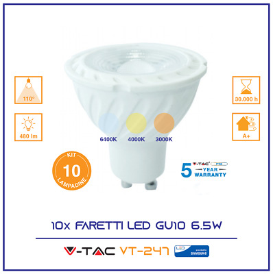 10 Lampada Faretto Spotlight Led V-Tac Gu10 6.5W Chip Samsung Kit 10 Lampadine F