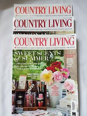 COUNTRY LIVING Magazines 2016 Bundle - June, August and October Issues