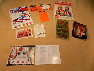 Old Coca Cola Advertising Paper Schedules Stickers Price Tag, Booklets, Calendar