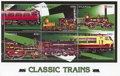 Uganda 1996 MNH Classic Trains 6v M/S I Railways Rail Stamps