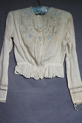 Antique Victorian White Fine Cotton Embroidered Blouse Lace Detail ~ S ~ As Is